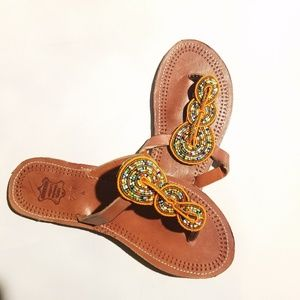 NWT Leather Beaded Summer Slippers/Sandals-sz 12